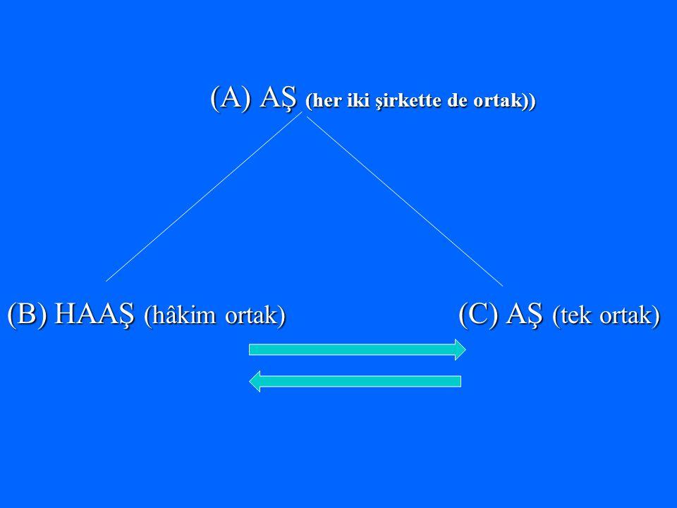 (A) AŞ (her iki şirkette de ortak)) (B) HAAŞ (hâkim ortak) (C) AŞ (tek ortak)