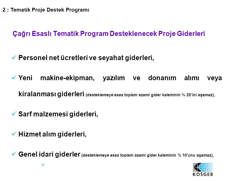 16 Çağrı Esaslı Tematik Program Desteklenecek Proje Giderleri Personel net ücretleri ve seyahat giderleri, Yeni makine-ekipman, yazılım ve donanım alı