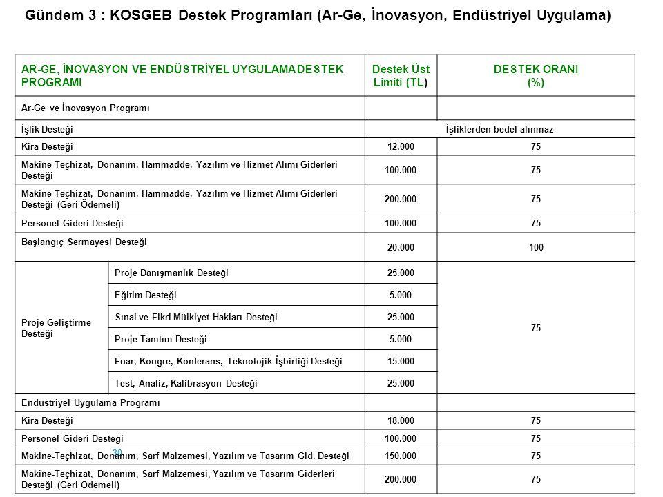 30 AR-GE, İNOVASYON VE ENDÜSTRİYEL UYGULAMA DESTEK PROGRAMI Destek Üst Limiti (TL) DESTEK ORANI (%) Ar-Ge ve İnovasyon Programı İşlik Desteğiİşliklerd