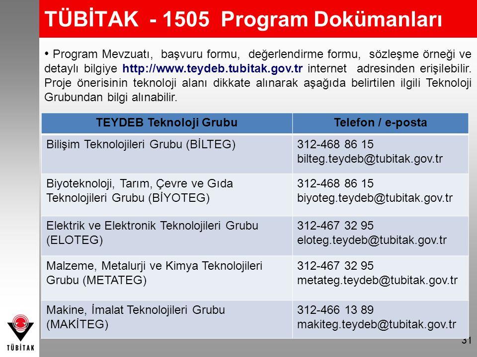 31 TÜBİTAK - 1505 Program Dokümanları Program Mevzuatı, başvuru formu, değerlendirme formu, sözleşme örneği ve detaylı bilgiye http://www.teydeb.tubit