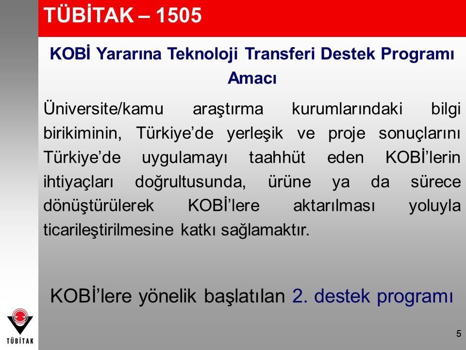 5 TÜBİTAK – 1505 KOBİ Yararına Teknoloji Transferi Destek Programı Amacı Üniversite/kamu araştırma kurumlarındaki bilgi birikiminin, Türkiye'de yerleş