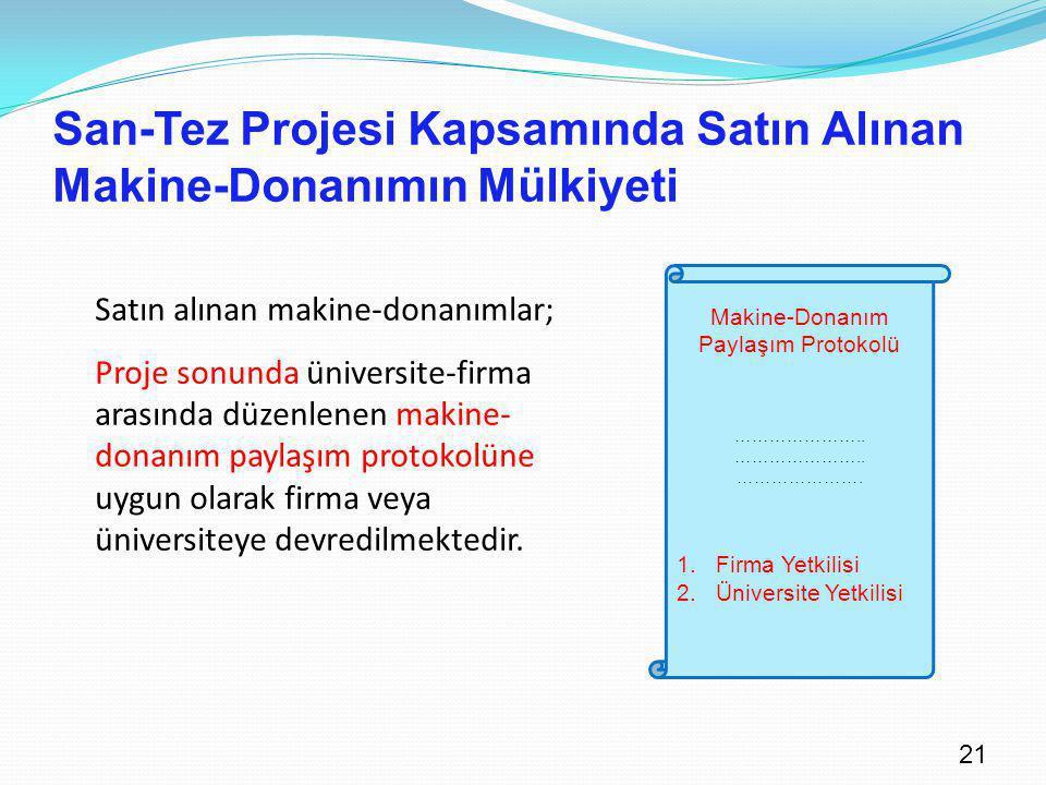 21 San-Tez Projesi Kapsamında Satın Alınan Makine-Donanımın Mülkiyeti Satın alınan makine-donanımlar; Proje sonunda üniversite-firma arasında düzenlen
