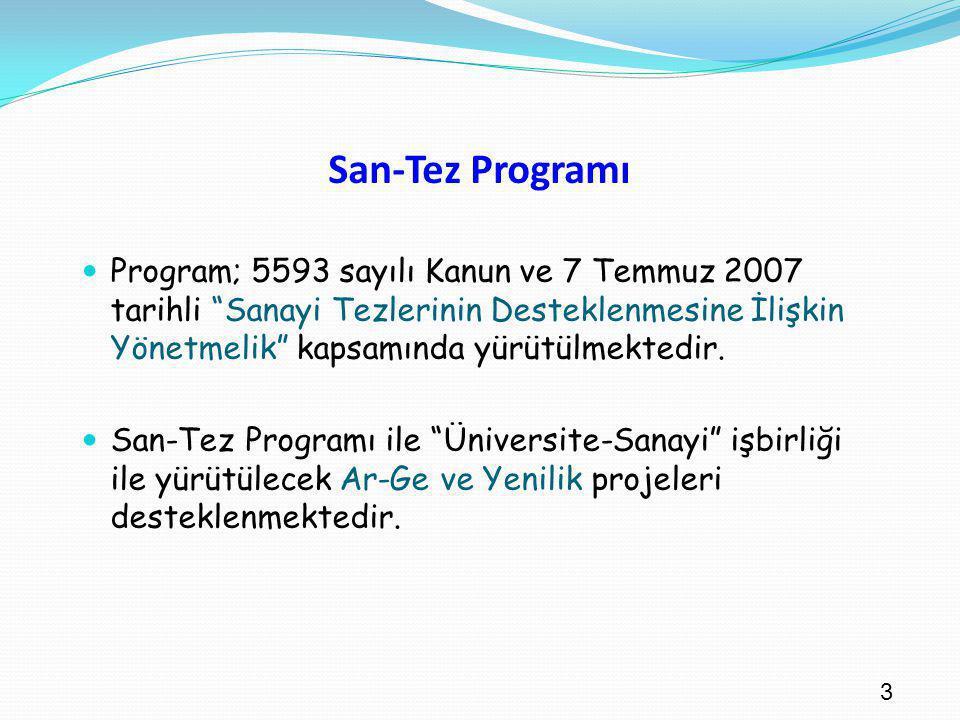 """3 San-Tez Programı Program; 5593 sayılı Kanun ve 7 Temmuz 2007 tarihli """"Sanayi Tezlerinin Desteklenmesine İlişkin Yönetmelik"""" kapsamında yürütülmekted"""