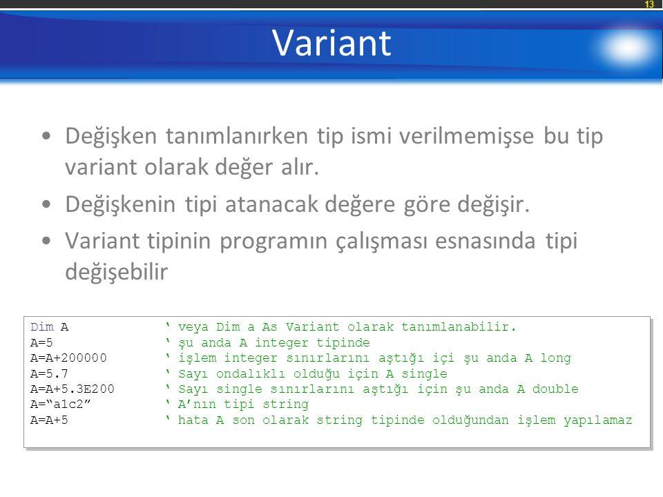 13 Variant Değişken tanımlanırken tip ismi verilmemişse bu tip variant olarak değer alır.