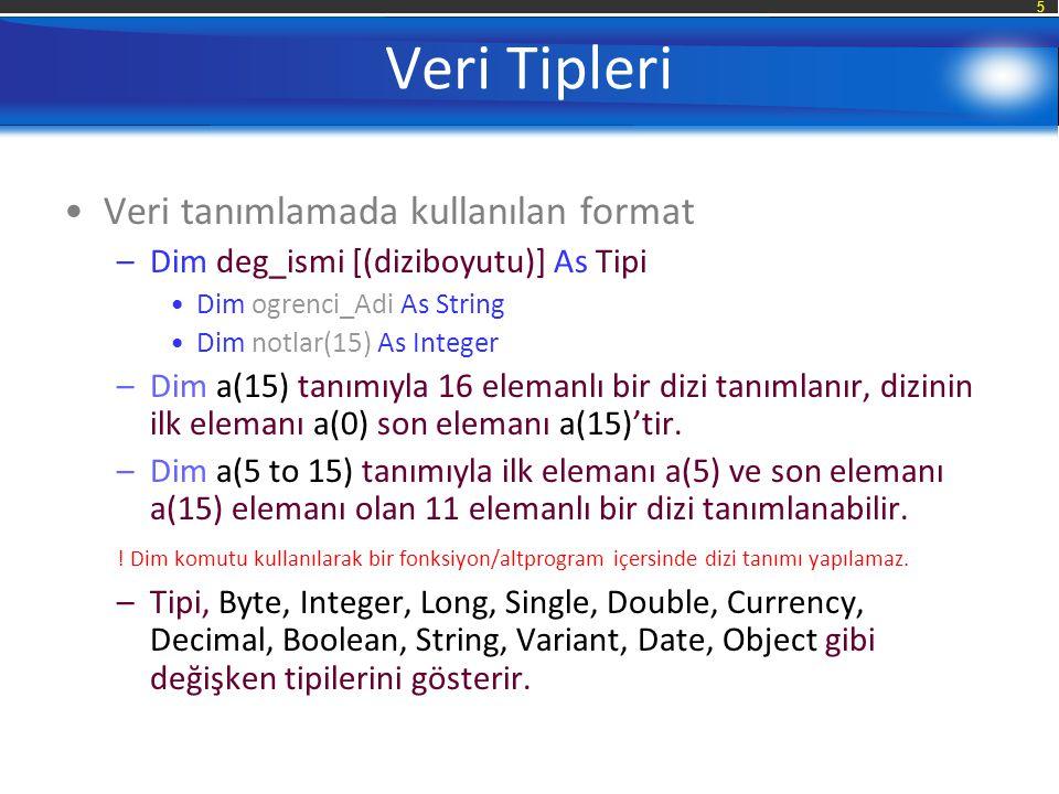 5 Veri Tipleri Veri tanımlamada kullanılan format –Dim deg_ismi [(diziboyutu)] As Tipi Dim ogrenci_Adi As String Dim notlar(15) As Integer –Dim a(15) tanımıyla 16 elemanlı bir dizi tanımlanır, dizinin ilk elemanı a(0) son elemanı a(15)'tir.