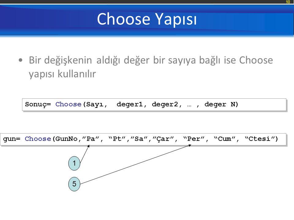 10 Choose Yapısı Bir değişkenin aldığı değer bir sayıya bağlı ise Choose yapısı kullanılır Sonuç= Choose(Sayı, deger1, deger2, …, deger N) gun= Choose(GunNo, Pa , Pt , Sa , Çar , Per , Cum , Ctesi ) 1 5