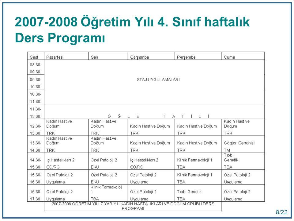 8 8/22 2007-2008 Öğretim Yılı 4. Sınıf haftalık Ders Programı
