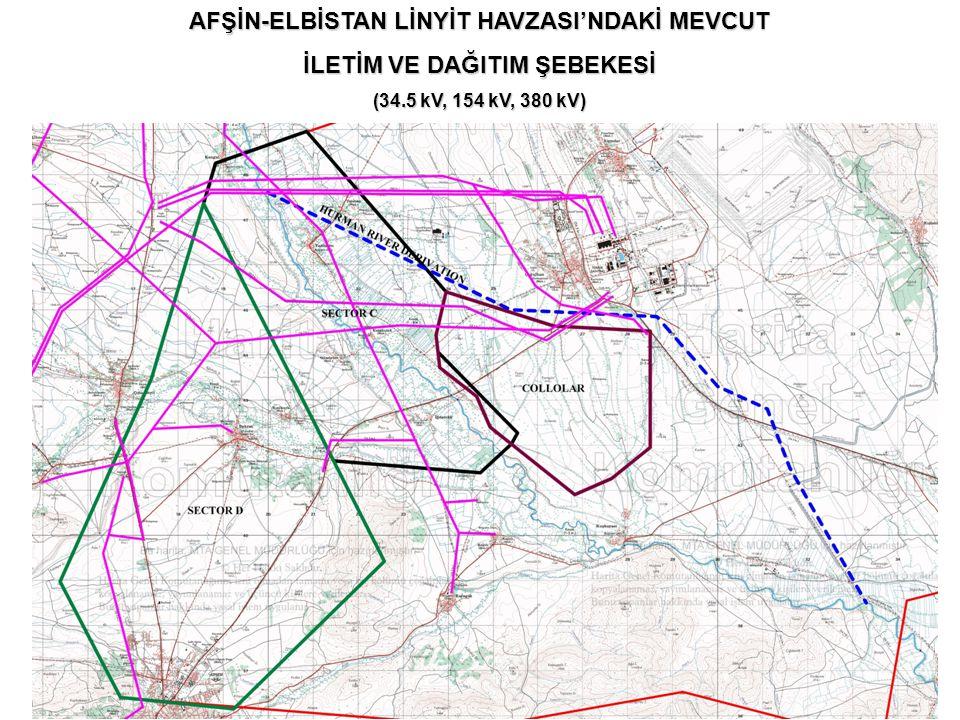 AFŞİN-ELBİSTAN LİNYİT HAVZASI'NDAKİ MEVCUT İLETİM VE DAĞITIM ŞEBEKESİ (34.5 kV, 154 kV, 380 kV)