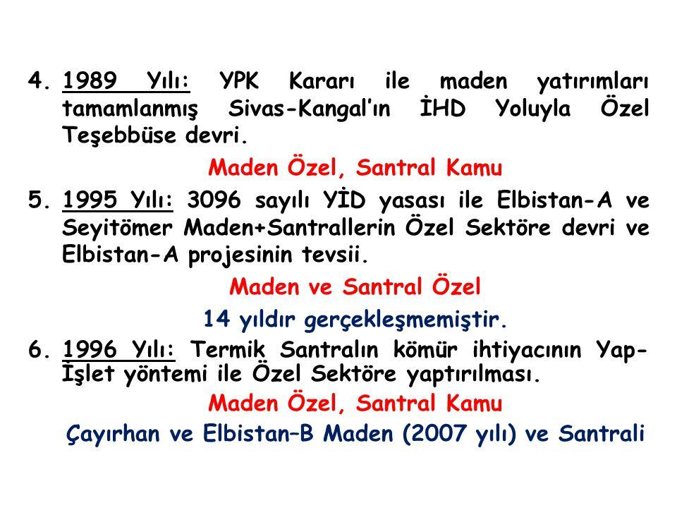 4.1989 Yılı: YPK Kararı ile maden yatırımları tamamlanmış Sivas-Kangal'ın İHD Yoluyla Özel Teşebbüse devri. Maden Özel, Santral Kamu 5.1995 Yılı: 3096