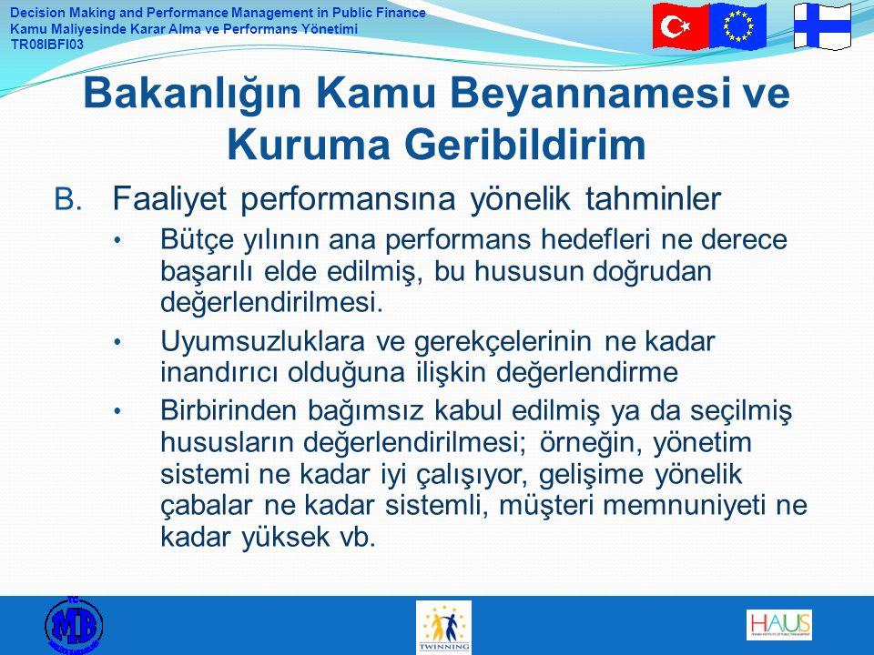 Decision Making and Performance Management in Public Finance Kamu Maliyesinde Karar Alma ve Performans Yönetimi TR08IBFI03 B.