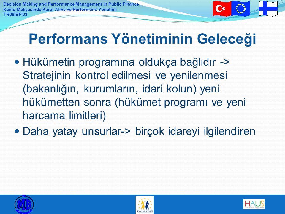 Decision Making and Performance Management in Public Finance Kamu Maliyesinde Karar Alma ve Performans Yönetimi TR08IBFI03 Hükümetin programına oldukç
