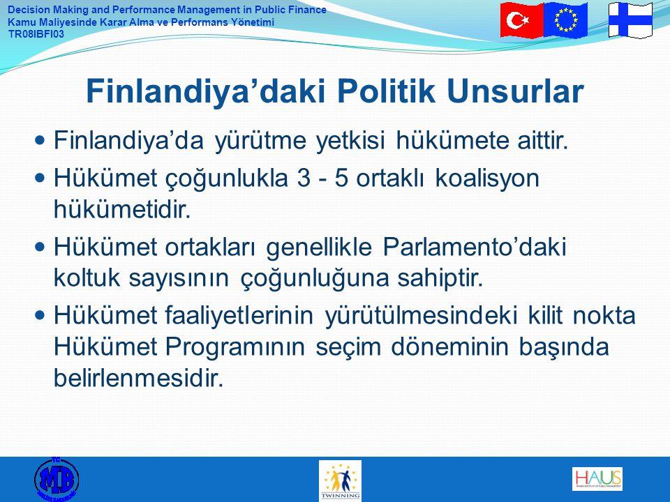 Decision Making and Performance Management in Public Finance Kamu Maliyesinde Karar Alma ve Performans Yönetimi TR08IBFI03 Finlandiya'da yürütme yetkisi hükümete aittir.