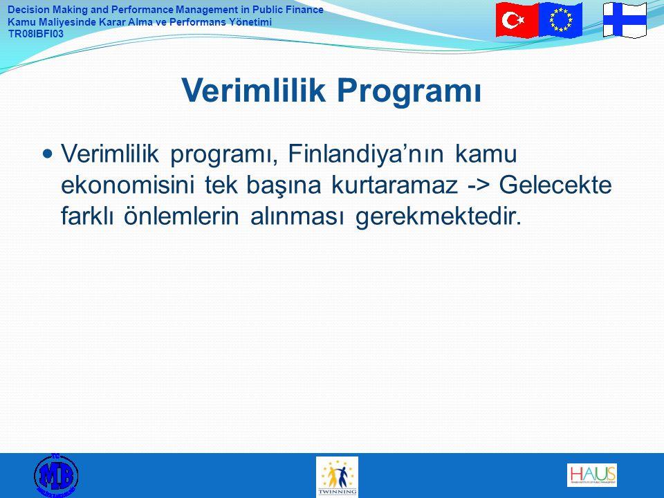 Decision Making and Performance Management in Public Finance Kamu Maliyesinde Karar Alma ve Performans Yönetimi TR08IBFI03 Verimlilik programı, Finlandiya'nın kamu ekonomisini tek başına kurtaramaz -> Gelecekte farklı önlemlerin alınması gerekmektedir.
