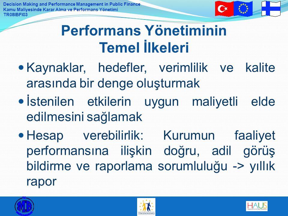 Decision Making and Performance Management in Public Finance Kamu Maliyesinde Karar Alma ve Performans Yönetimi TR08IBFI03 Kaynaklar, hedefler, verimlilik ve kalite arasında bir denge oluşturmak İstenilen etkilerin uygun maliyetli elde edilmesini sağlamak Hesap verebilirlik: Kurumun faaliyet performansına ilişkin doğru, adil görüş bildirme ve raporlama sorumluluğu -> yıllık rapor Performans Yönetiminin Temel İlkeleri