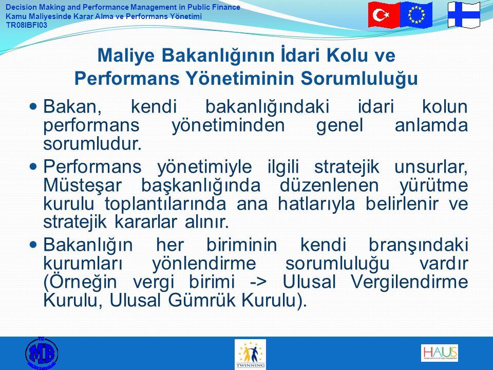 Decision Making and Performance Management in Public Finance Kamu Maliyesinde Karar Alma ve Performans Yönetimi TR08IBFI03 Bakan, kendi bakanlığındaki idari kolun performans yönetiminden genel anlamda sorumludur.
