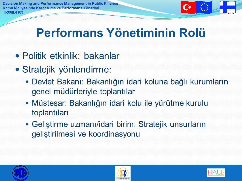 Decision Making and Performance Management in Public Finance Kamu Maliyesinde Karar Alma ve Performans Yönetimi TR08IBFI03 Politik etkinlik: bakanlar Stratejik yönlendirme: Devlet Bakanı: Bakanlığın idari koluna bağlı kurumların genel müdürleriyle toplantılar Müsteşar: Bakanlığın idari kolu ile yürütme kurulu toplantıları Geliştirme uzmanı/idari birim: Stratejik unsurların geliştirilmesi ve koordinasyonu Performans Yönetiminin Rolü