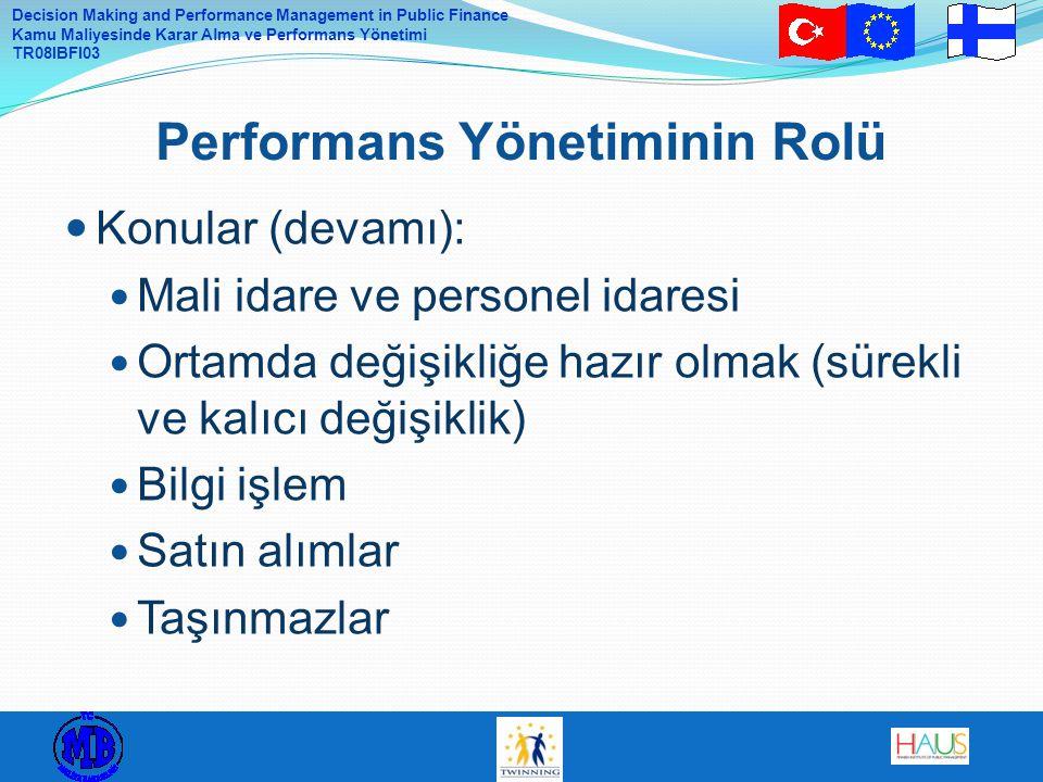 Decision Making and Performance Management in Public Finance Kamu Maliyesinde Karar Alma ve Performans Yönetimi TR08IBFI03 Konular (devamı): Mali idar