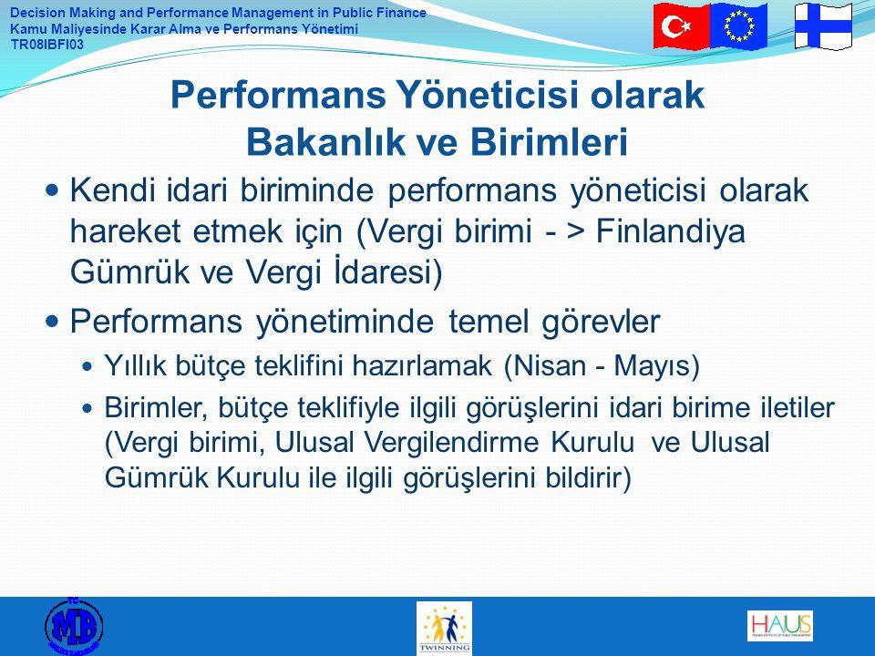 Decision Making and Performance Management in Public Finance Kamu Maliyesinde Karar Alma ve Performans Yönetimi TR08IBFI03 Kendi idari biriminde performans yöneticisi olarak hareket etmek için (Vergi birimi - > Finlandiya Gümrük ve Vergi İdaresi) Performans yönetiminde temel görevler Yıllık bütçe teklifini hazırlamak (Nisan - Mayıs) Birimler, bütçe teklifiyle ilgili görüşlerini idari birime iletiler (Vergi birimi, Ulusal Vergilendirme Kurulu ve Ulusal Gümrük Kurulu ile ilgili görüşlerini bildirir) Performans Yöneticisi olarak Bakanlık ve Birimleri