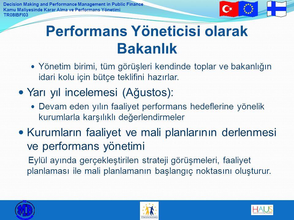 Decision Making and Performance Management in Public Finance Kamu Maliyesinde Karar Alma ve Performans Yönetimi TR08IBFI03 Yönetim birimi, tüm görüşle