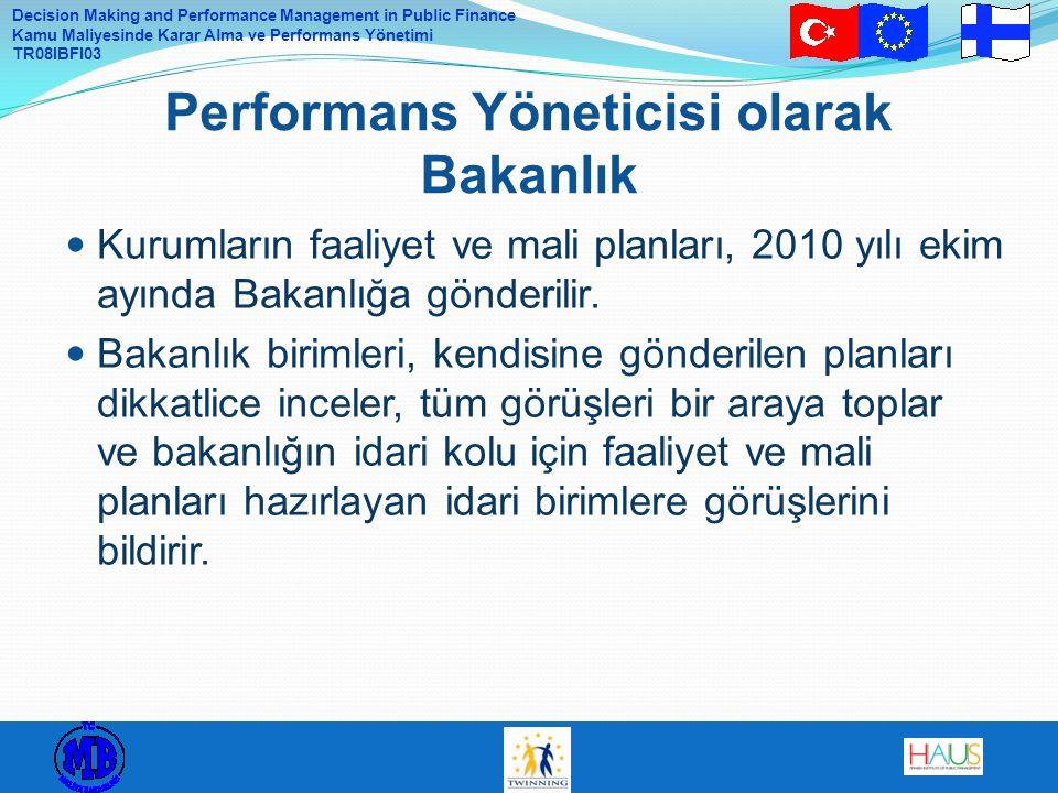 Decision Making and Performance Management in Public Finance Kamu Maliyesinde Karar Alma ve Performans Yönetimi TR08IBFI03 Kurumların faaliyet ve mali planları, 2010 yılı ekim ayında Bakanlığa gönderilir.