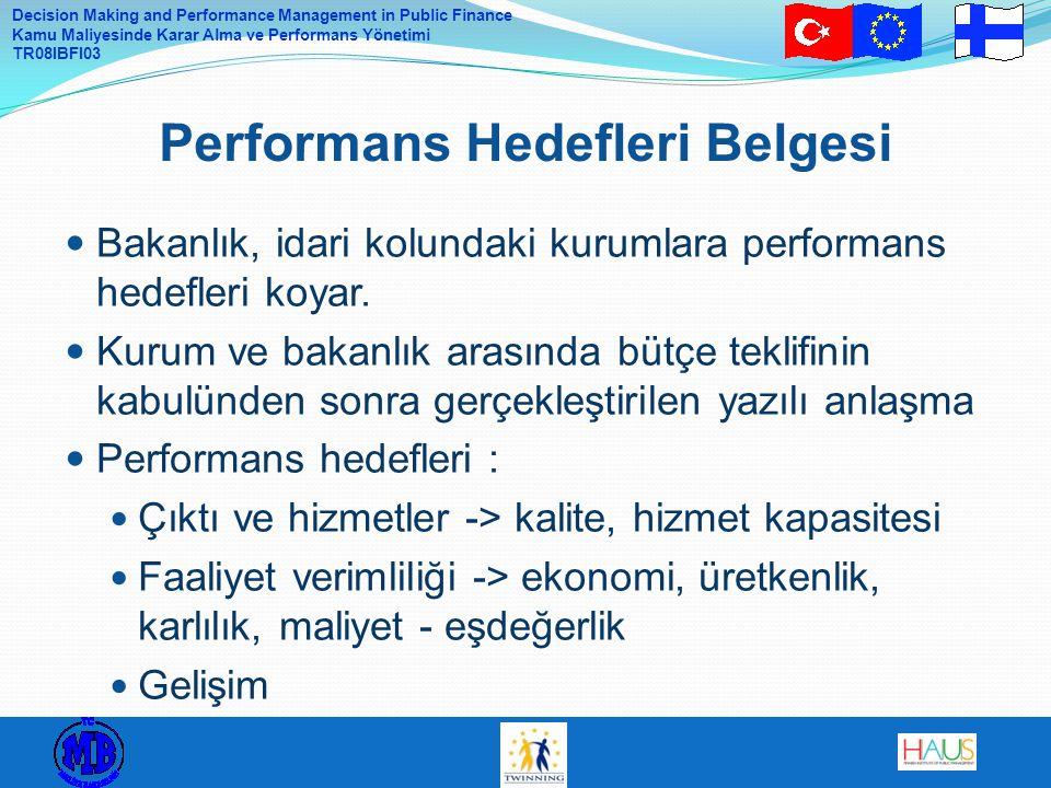 Decision Making and Performance Management in Public Finance Kamu Maliyesinde Karar Alma ve Performans Yönetimi TR08IBFI03 Bakanlık, idari kolundaki k
