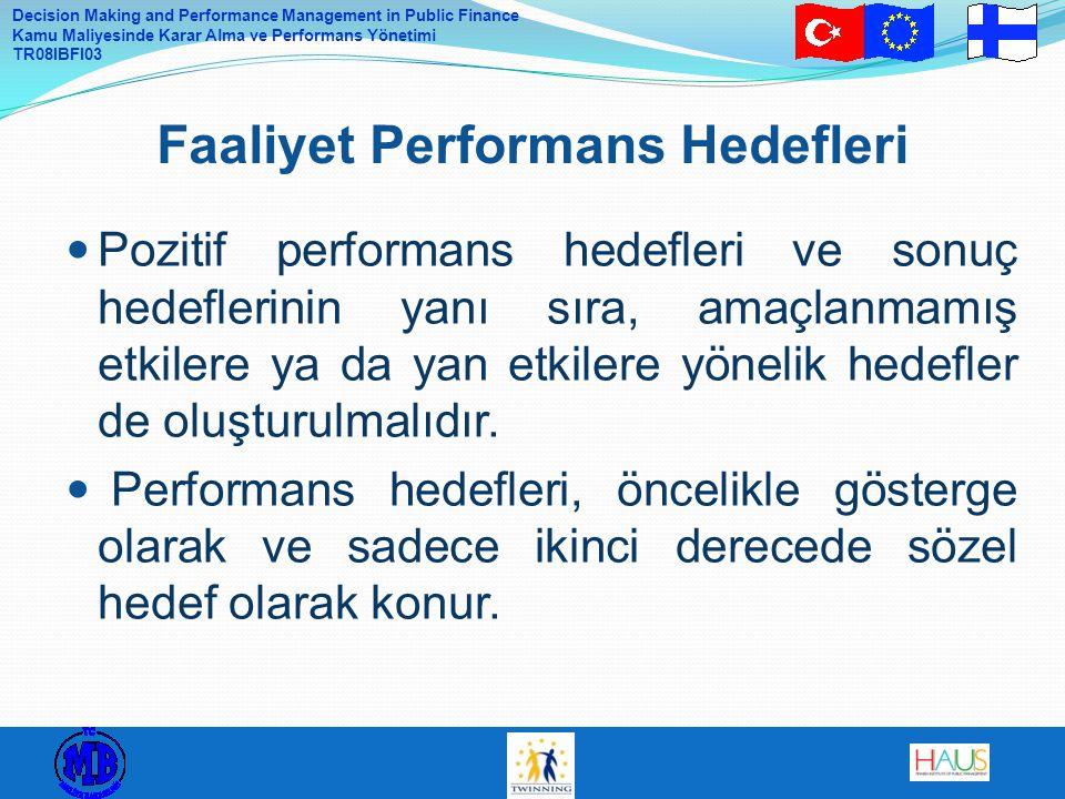Decision Making and Performance Management in Public Finance Kamu Maliyesinde Karar Alma ve Performans Yönetimi TR08IBFI03 Pozitif performans hedefleri ve sonuç hedeflerinin yanı sıra, amaçlanmamış etkilere ya da yan etkilere yönelik hedefler de oluşturulmalıdır.
