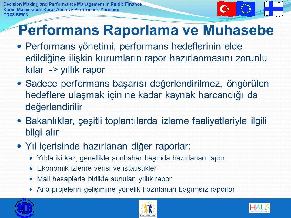 Decision Making and Performance Management in Public Finance Kamu Maliyesinde Karar Alma ve Performans Yönetimi TR08IBFI03 Performans yönetimi, performans hedeflerinin elde edildiğine ilişkin kurumların rapor hazırlanmasını zorunlu kılar -> yıllık rapor Sadece performans başarısı değerlendirilmez, öngörülen hedeflere ulaşmak için ne kadar kaynak harcandığı da değerlendirilir Bakanlıklar, çeşitli toplantılarda izleme faaliyetleriyle ilgili bilgi alır Yıl içerisinde hazırlanan diğer raporlar: Yılda iki kez, genellikle sonbahar başında hazırlanan rapor Ekonomik izleme verisi ve istatistikler Mali hesaplarla birlikte sunulan yıllık rapor Ana projelerin gelişimine yönelik hazırlanan bağımsız raporlar Performans Raporlama ve Muhasebe