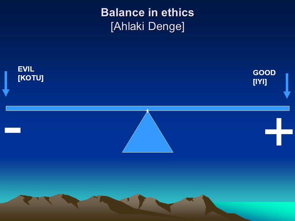 Balance in ethics [Ahlaki Denge] ++++++ - + GOOD [IYI] EVIL [KOTU]