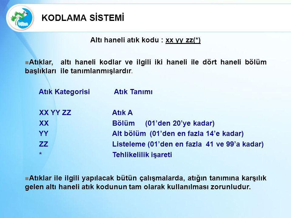 Altı haneli atık kodu : xx yy zz(*) Atıklar, altı haneli kodlar ve ilgili iki haneli ile dört haneli bölüm başlıkları ile tanımlanmışlardır. Atık Kate
