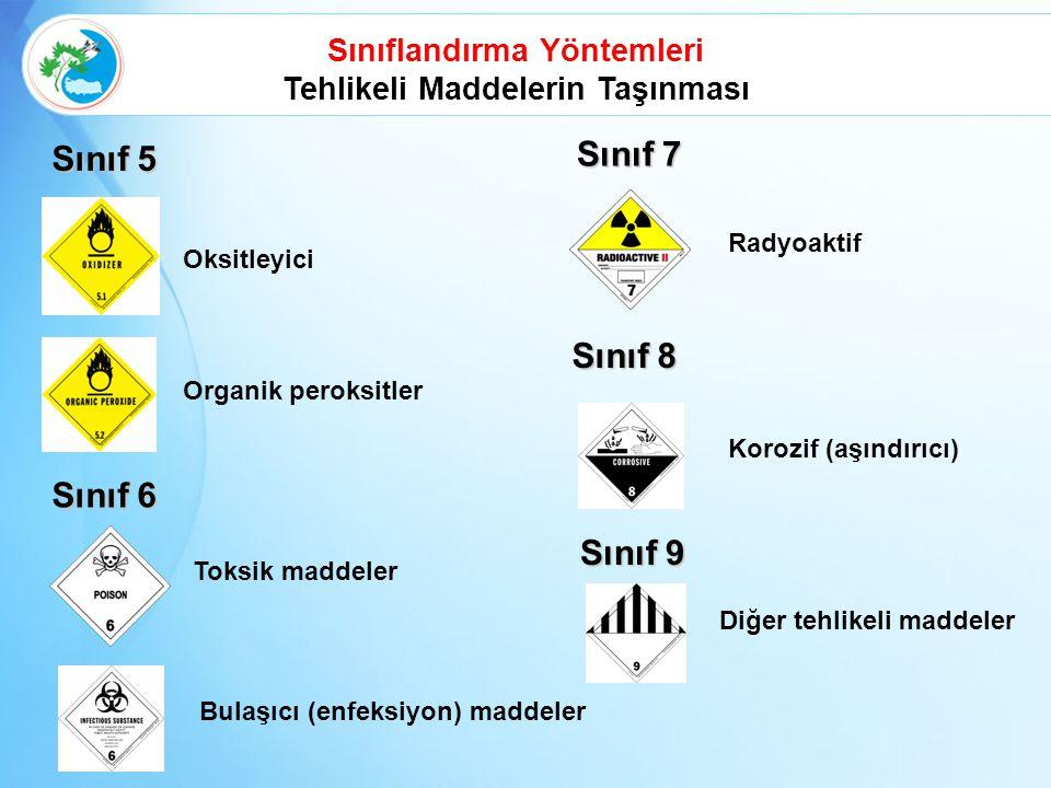 Sınıf 5 Oksitleyici Organik peroksitler Sınıf 6 Toksik maddeler Bulaşıcı (enfeksiyon) maddeler Sınıflandırma Yöntemleri Tehlikeli Maddelerin Taşınması Sınıf 7 Radyoaktif Diğer tehlikeli maddeler Sınıf 8 Korozif (aşındırıcı) Sınıf 9