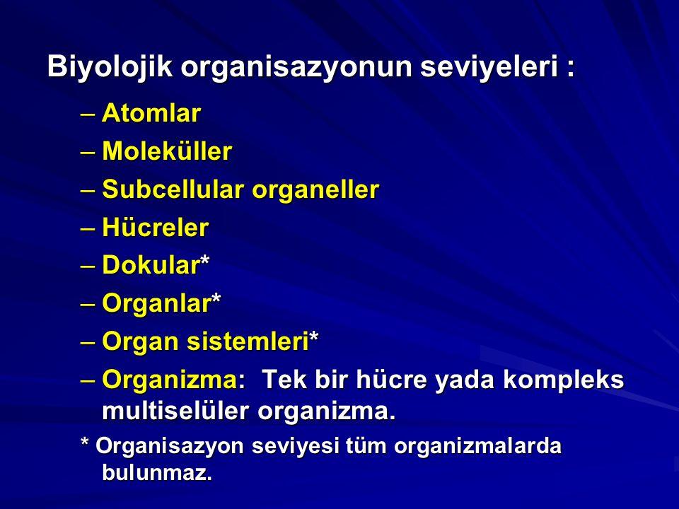 Biyolojik organisazyonun seviyeleri : –Atomlar –Moleküller –Subcellular organeller –Hücreler –Dokular* –Organlar* –Organ sistemleri* –Organizma: Tek b