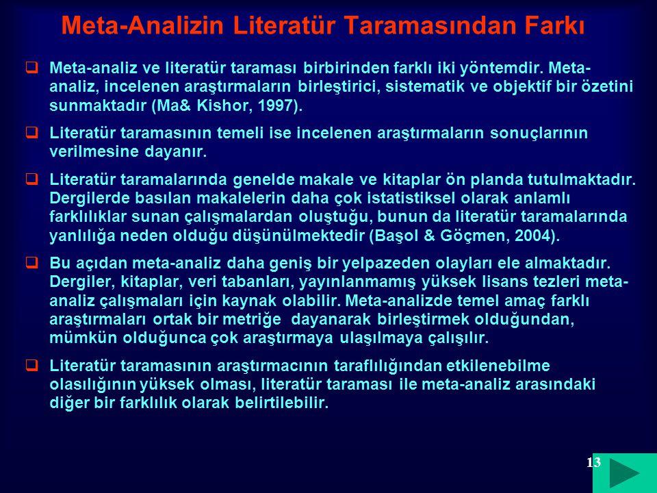 Meta-Analizin Literatür Taramasından Farkı  Meta-analiz ve literatür taraması birbirinden farklı iki yöntemdir. Meta- analiz, incelenen araştırmaları