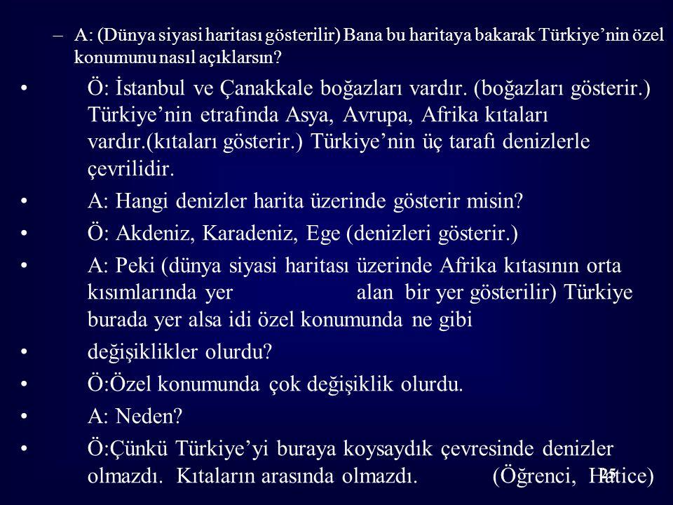 –A: (Dünya siyasi haritası gösterilir) Bana bu haritaya bakarak Türkiye'nin özel konumunu nasıl açıklarsın? Ö: İstanbul ve Çanakkale boğazları vardır.