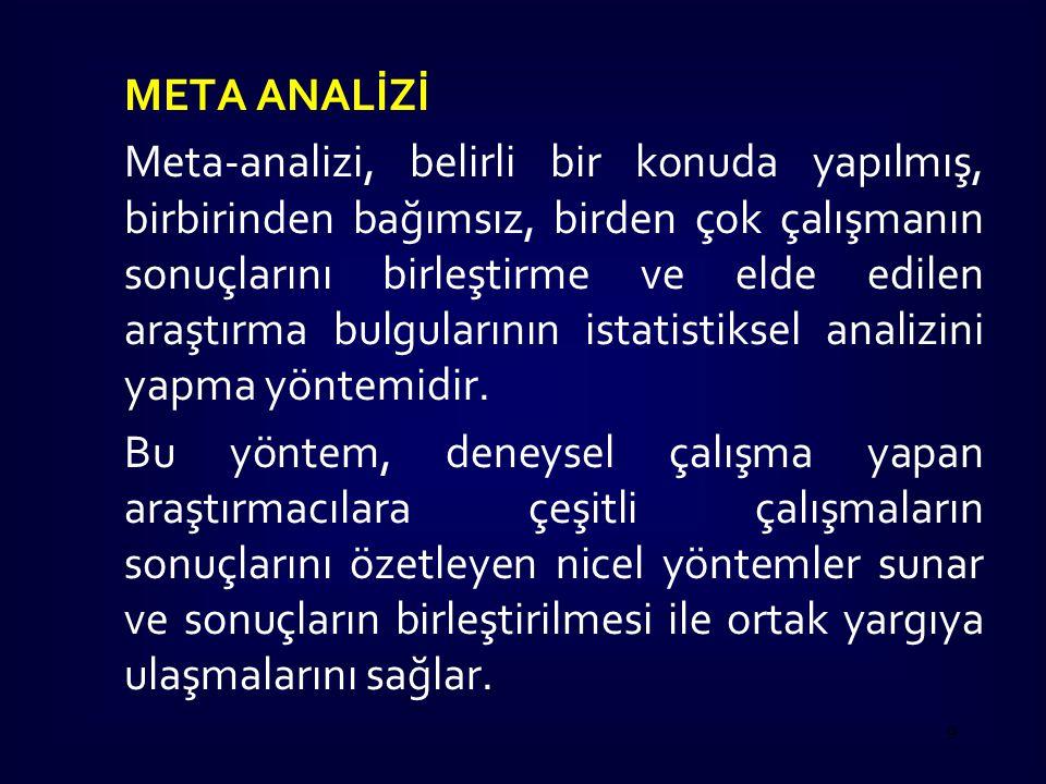 META ANALİZİ Meta-analizi, belirli bir konuda yapılmış, birbirinden bağımsız, birden çok çalışmanın sonuçlarını birleştirme ve elde edilen araştırma b