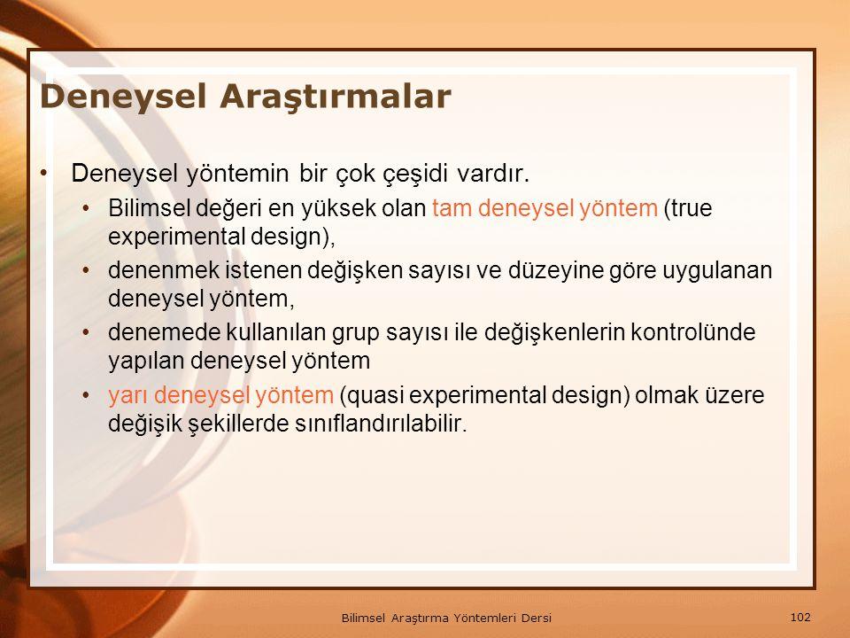 102 Bilimsel Araştırma Yöntemleri Dersi Deneysel Araştırmalar Deneysel yöntemin bir çok çeşidi vardır. Bilimsel değeri en yüksek olan tam deneysel yön