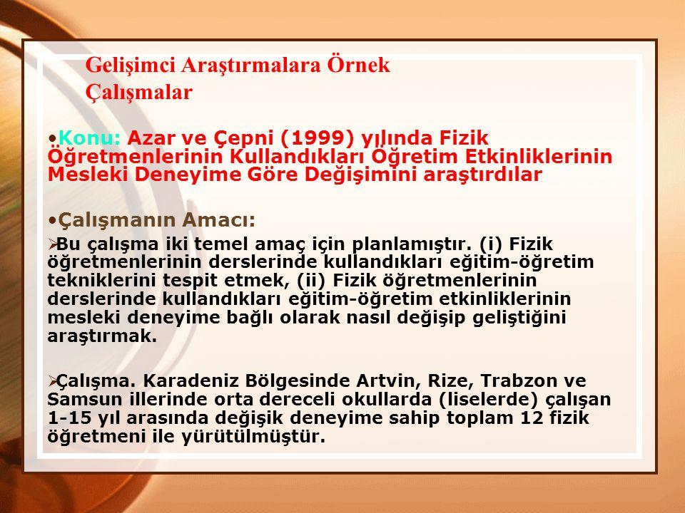 Konu: Azar ve Çepni (1999) yılında Fizik Öğretmenlerinin Kullandıkları Öğretim Etkinliklerinin Mesleki Deneyime Göre Değişimini araştırdılar Çalışmanı