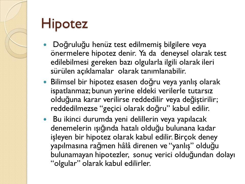 Hipotez Do ğ rulu ğ u henüz test edilmemiş bilgilere veya önermelere hipotez denir. Ya da deneysel olarak test edilebilmesi gereken bazı olgularla ilg