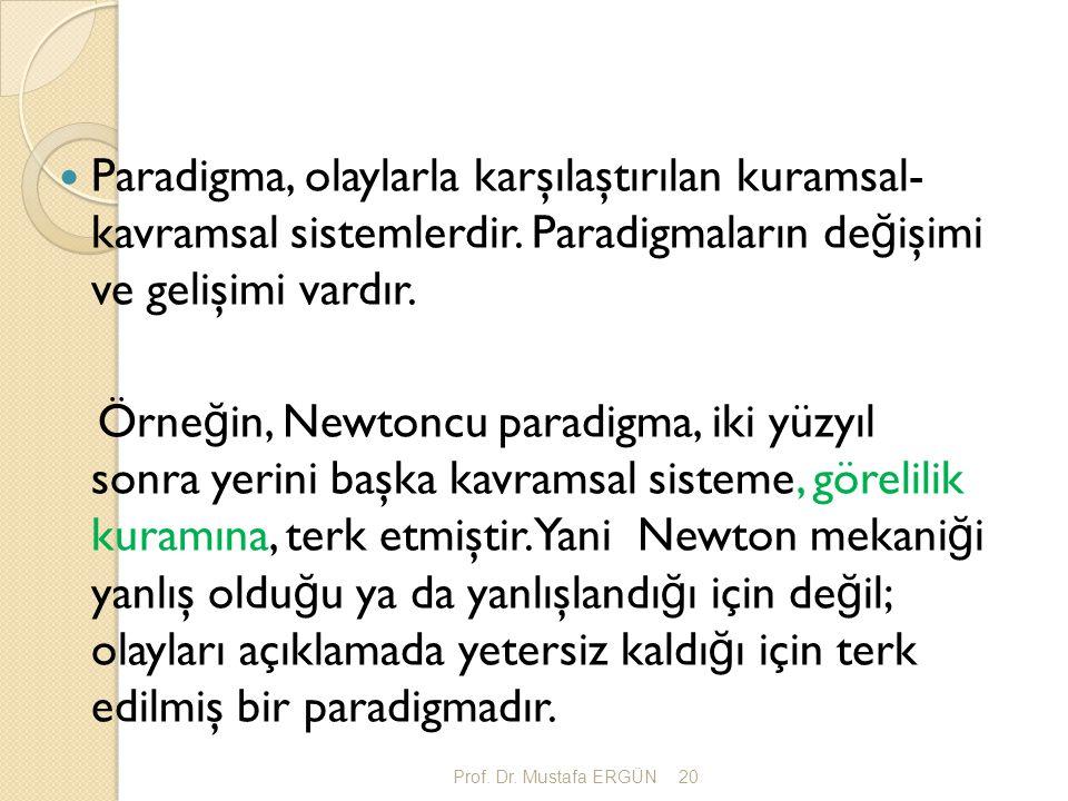 Prof. Dr. Mustafa ERGÜN20 Paradigma, olaylarla karşılaştırılan kuramsal- kavramsal sistemlerdir. Paradigmaların de ğ işimi ve gelişimi vardır. Örne ğ