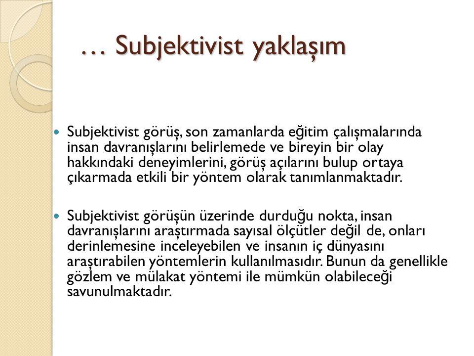 … Subjektivist yaklaşım Subjektivist görüş, son zamanlarda e ğ itim çalışmalarında insan davranışlarını belirlemede ve bireyin bir olay hakkındaki den