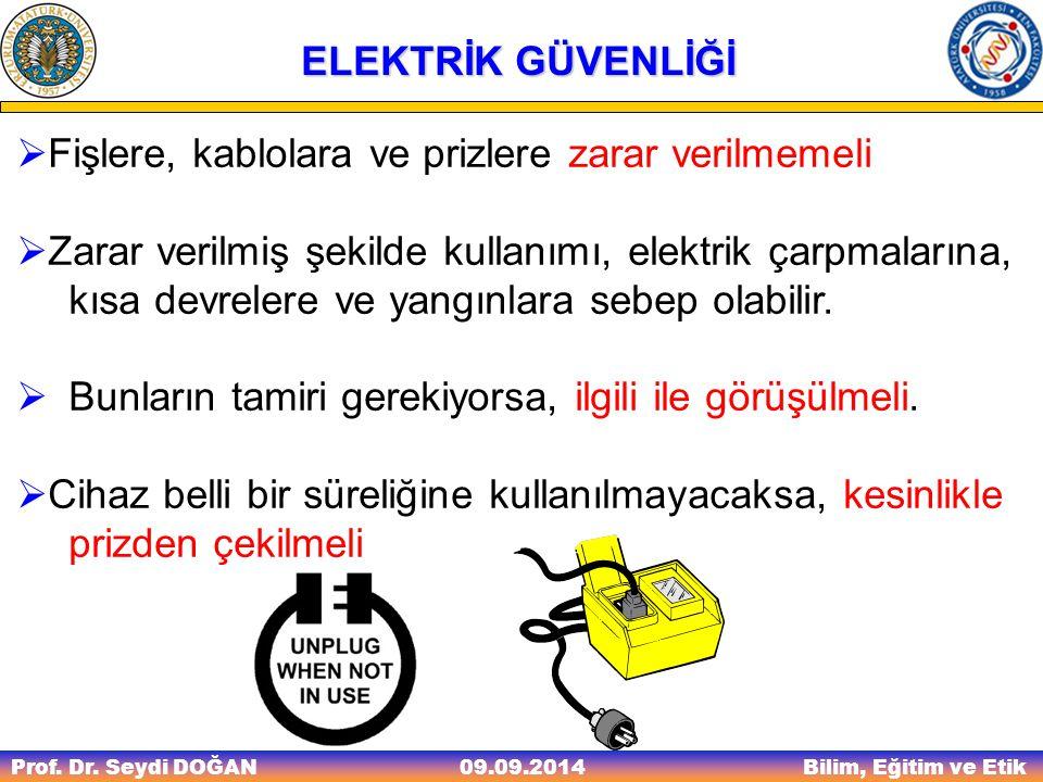 Prof. Dr. Seydi DOĞAN Bilim, Eğitim ve Etik 09.09.2014 ELEKTRİK GÜVENLİĞİ  Fişlere, kablolara ve prizlere zarar verilmemeli  Zarar verilmiş şekilde