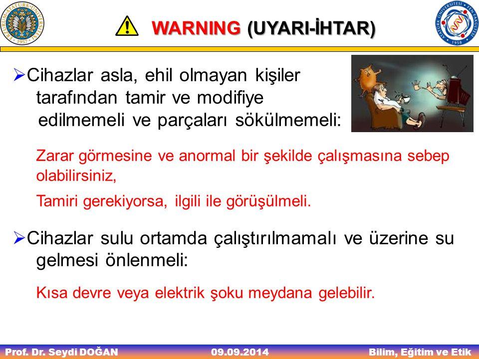 Prof. Dr. Seydi DOĞAN Bilim, Eğitim ve Etik 09.09.2014 WARNING (UYARI-İHTAR) WARNING (UYARI-İHTAR)  Cihazlar asla, ehil olmayan kişiler tarafından ta