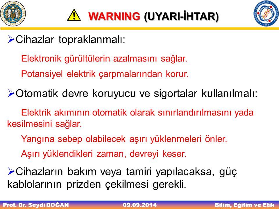 Prof. Dr. Seydi DOĞAN Bilim, Eğitim ve Etik 09.09.2014 WARNING (UYARI-İHTAR) WARNING (UYARI-İHTAR)  Cihazlar topraklanmalı: Elektronik gürültülerin a