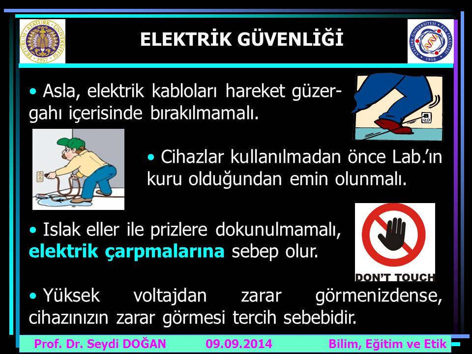 Prof. Dr. Seydi DOĞAN Bilim, Eğitim ve Etik 09.09.2014 ELEKTRİK GÜVENLİĞİ Asla, elektrik kabloları hareket güzer- gahı içerisinde bırakılmamalı. Cihaz