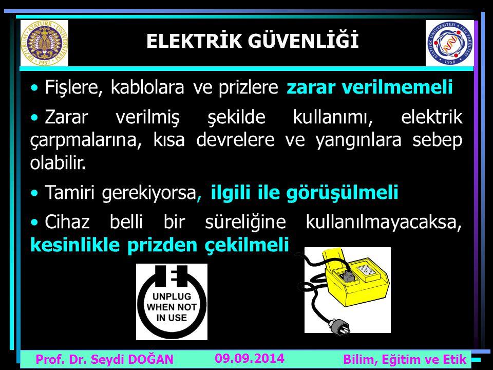 Prof. Dr. Seydi DOĞAN Bilim, Eğitim ve Etik 09.09.2014 ELEKTRİK GÜVENLİĞİ Fişlere, kablolara ve prizlere zarar verilmemeli Zarar verilmiş şekilde kull
