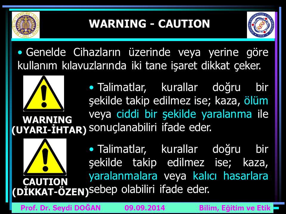 Prof. Dr. Seydi DOĞAN Bilim, Eğitim ve Etik 09.09.2014 WARNING - CAUTION Genelde Cihazların üzerinde veya yerine göre kullanım kılavuzlarında iki tane
