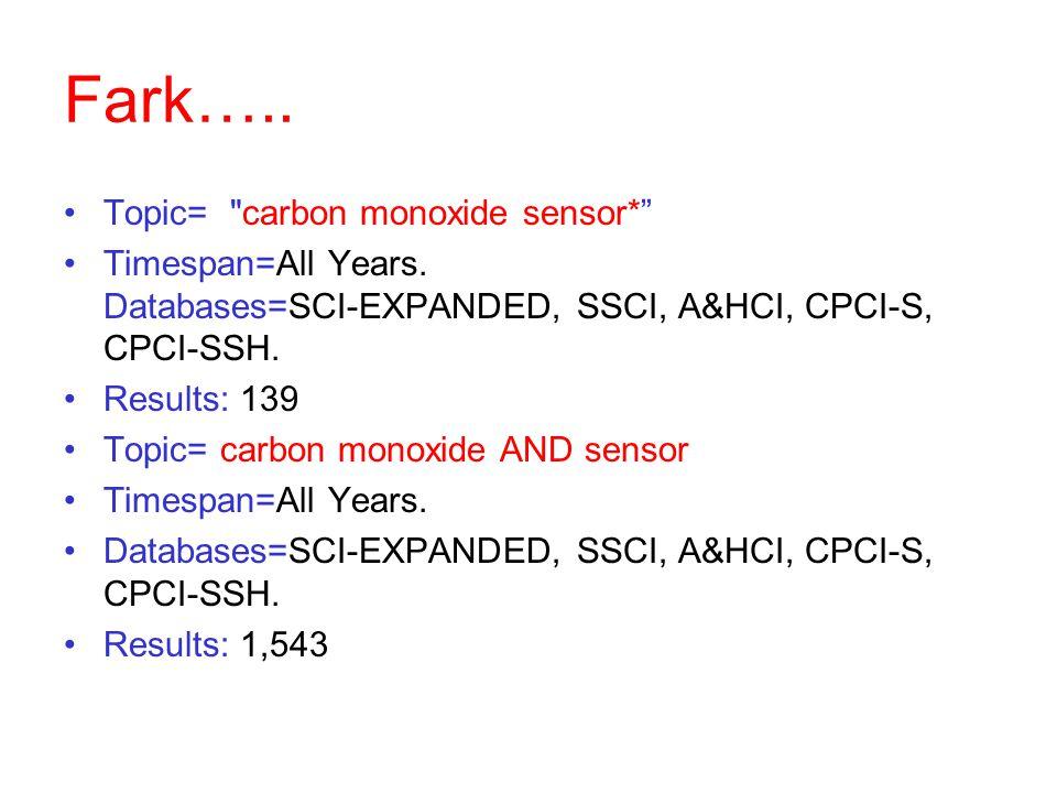 Fark…..Topic= carbon monoxide sensor* Timespan=All Years.