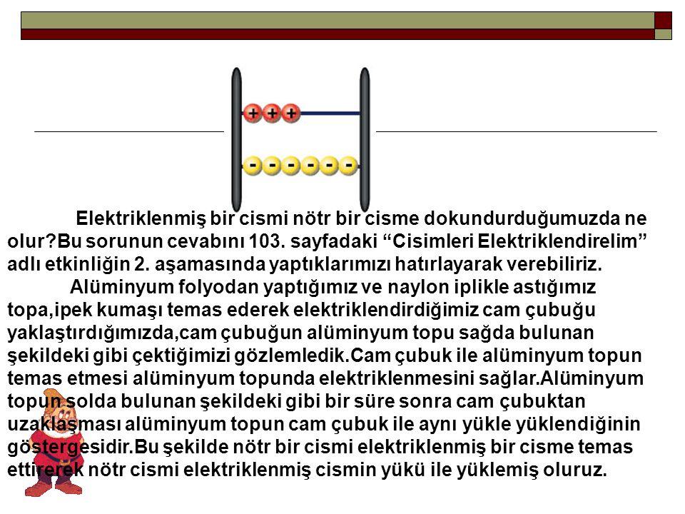 Elektriklenmiş bir cismi nötr bir cisme dokundurduğumuzda ne olur?Bu sorunun cevabını 103.