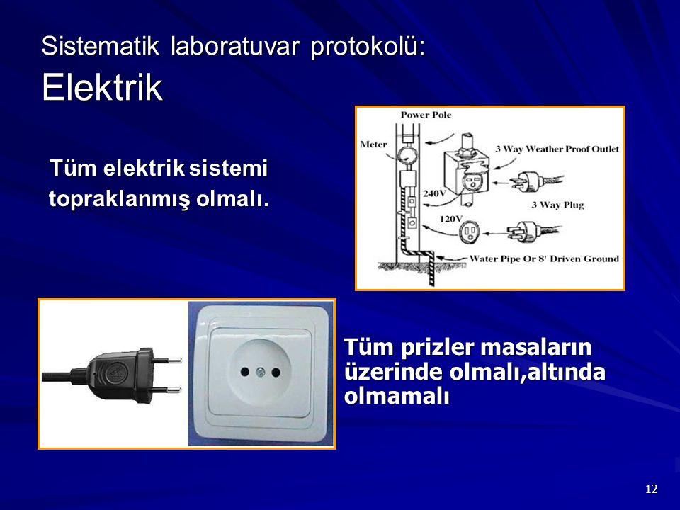 12 Sistematik laboratuvar protokolü: Elektrik Tüm elektrik sistemi topraklanmış olmalı. topraklanmış olmalı. Tüm prizler masaların üzerinde olmalı,alt