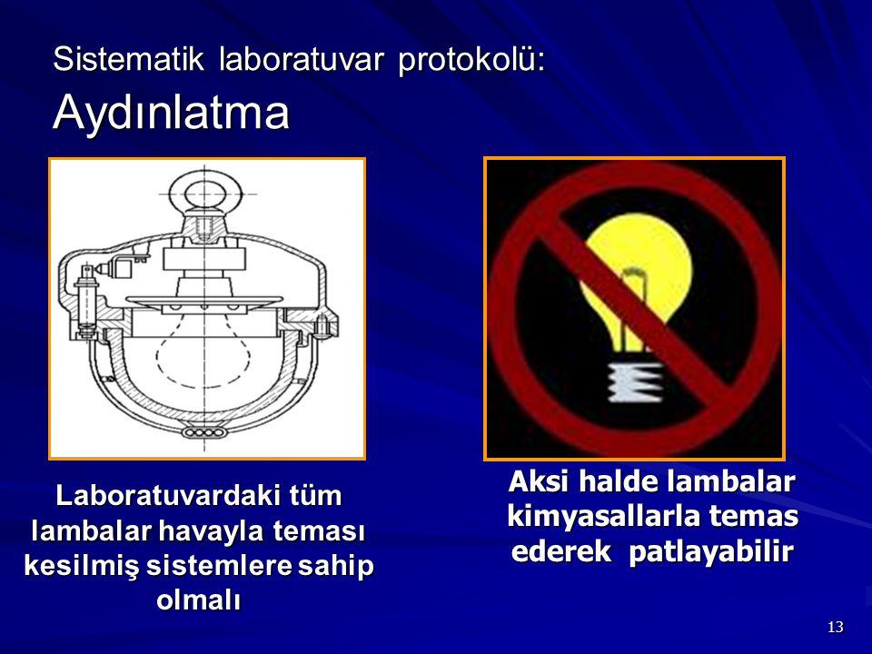 13 Sistematik laboratuvar protokolü: Aydınlatma Laboratuvardaki tüm lambalar havayla teması kesilmiş sistemlere sahip olmalı Aksi halde lambalar kimya