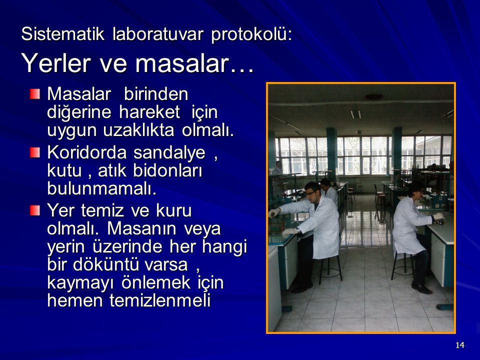 14 Sistematik laboratuvar protokolü: Yerler ve masalar… Masalar birinden diğerine hareket için uygun uzaklıkta olmalı. Koridorda sandalye, kutu, atık